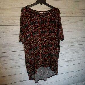 Lularoe Irma Shirt Size Medium Red Green Aztec